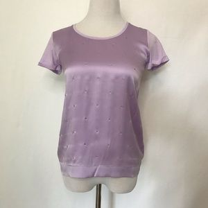Gerard Darel Purple Tee with silver beaded floral